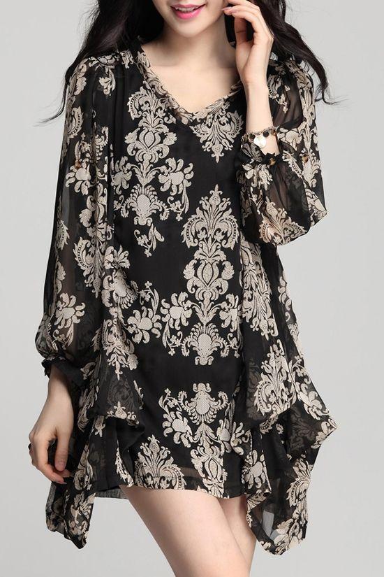 Irregular Hem Chiffon Long Sleeves Loose-Fitting Dress
