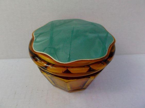Amber Glass Vanity Powder Jar Box Celluloid Plastic Lid Vintage Paneled offered by #rubylane shop Saltymaggie's Treasures.