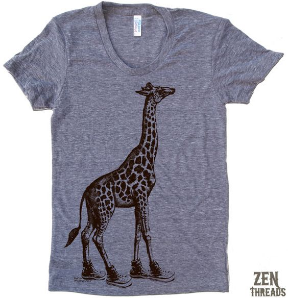 Womens GIRAFFE (in High Tops) american apparel T Shirt S M L XL (16 Colors Available) on Etsy, $18.00