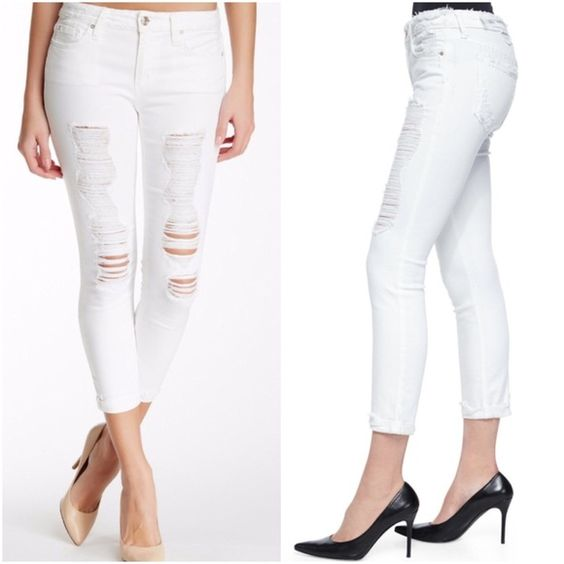 NWT Joe's Jeans Crop White Distressed Skinny Jeans NWT perfect ...