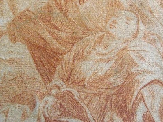 Ecole italienne du 17ème siècle - La vierge évanouie (détail)