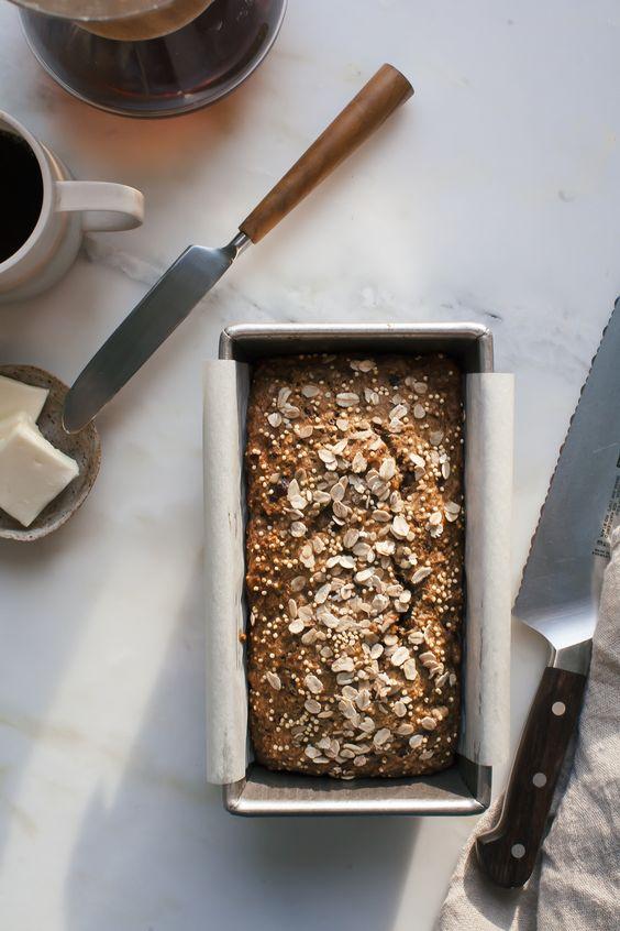 Spelt Oat Date Loaf w/ Cocoa Nibs & Millet Seeds: