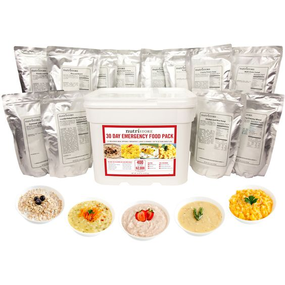The Nutristore™ 30-Day Emergency Food Pack provides over 2000 calories a day for one person and nearly 37 lbs of great tasting food. It also offers exceptional nutritional value for Breakfast, Lunch and Dinner.