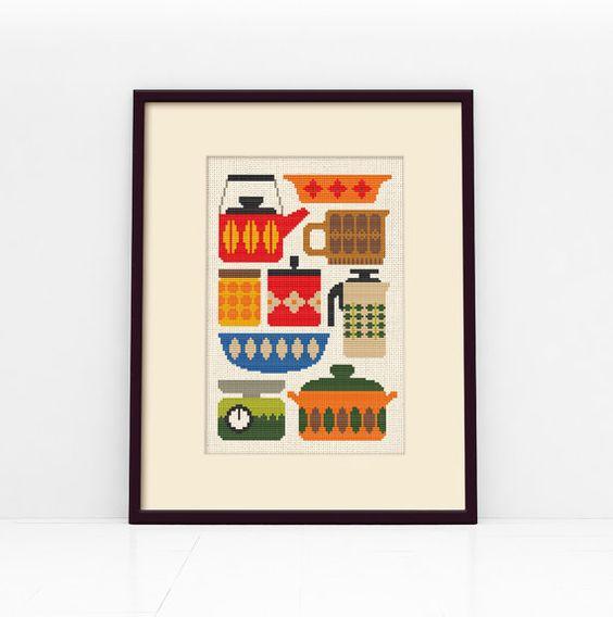 Retro kitchen cross stitch pattern digital format pdf for Cross stitch kitchen designs