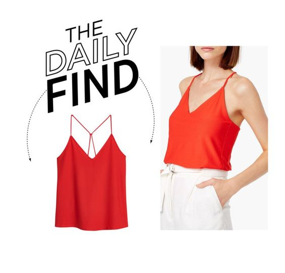"""""""Daily Find: Mango Spaghetti Strap Top"""" by polyvore-editorial ❤ liked on Polyvore"""