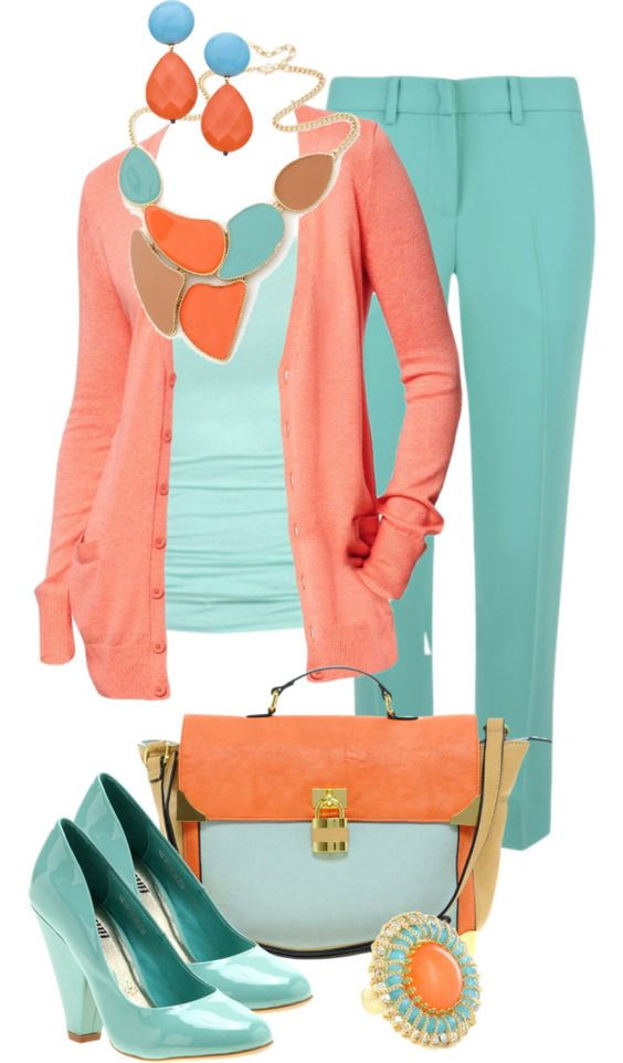 """""""Coral & Turquoise"""" by sagramora on Polyvore"""