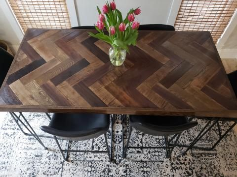 Herringbone Bar Height Dining Table With Hairpin Legs Bar Height Dining Table Dining Table Dining Table Rustic