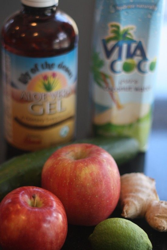 detox/renewal: apple, ginger, cucumber, lime, coconut and aloe  http://thepigandthefig.com/2013/03/01/renewal-apple-ginger-cucumber-lime-coconut-and-aloe-juice/