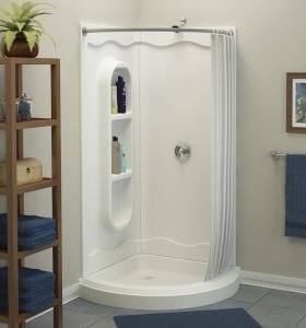 Shower Rods For Corner Showers Freesia 38 Round Shower Kit Asb Bathing Systems With Images Corner Shower Stalls Corner Shower Small Bathroom