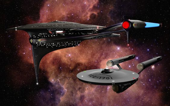 Two of my old Star Trek universe models together, in front of a boring nebula. I thought it was a shame that all my renders I've uploaded so far have been shamefully low res, so I dragged out the o...