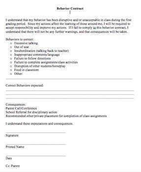 BEHAVIOR CONTRACT FOR STUDENTS - TeachersPayTeachers.com