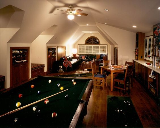 Man Cave Above Garage : Great man cave with billiard table sofa to hang out