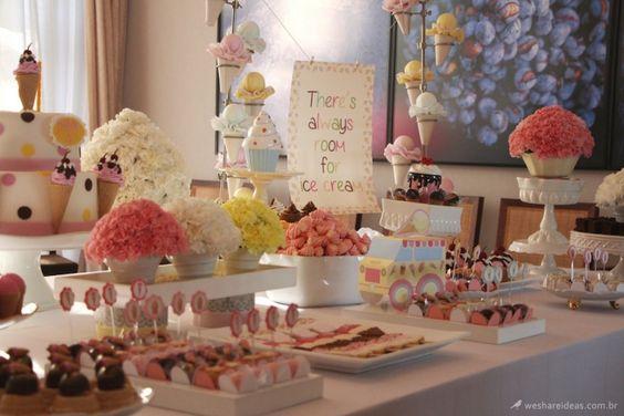 Festa do Sorvete/ Ice cream party/ festa menina/ girls party/ candy colors