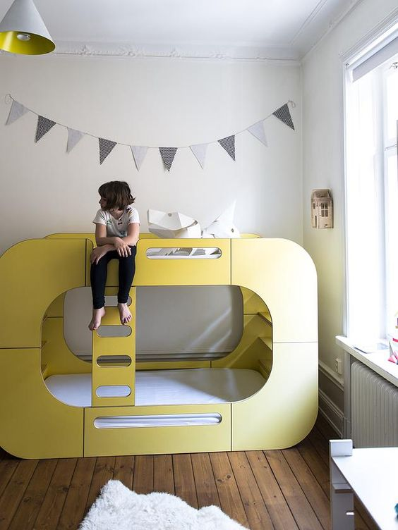 Children Design, Kira`s Bedroom, featuring the IO Bunk Pod Bed in yellow.
