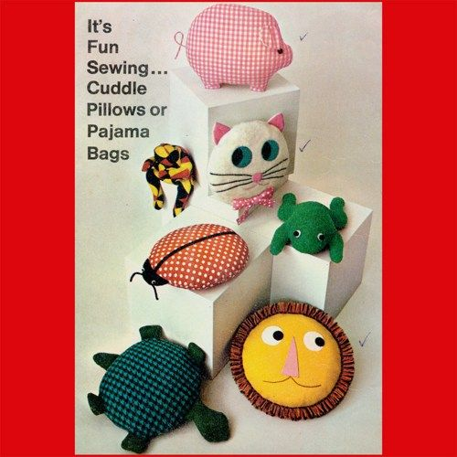 Free Crochet Patterns For Pajama Bags : Vintage 1967 Stuffed Animal Cuddle Pillow Pajama Bag ...