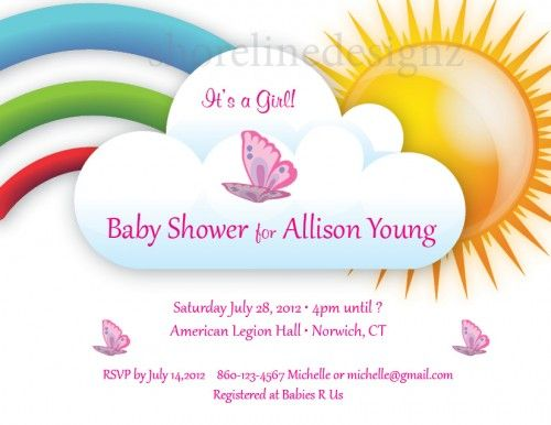Custom rainbow and butterfly theme baby shower invitation.