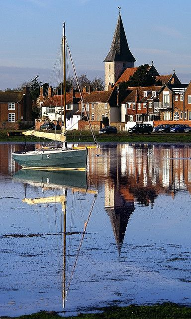 Chichester Harbour, Bosham, England.  Bosham Church is the only church depicted on the Bayeux Tapestry.  Church the Boat and the Sea by mix