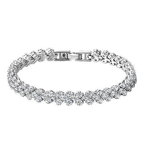 CLARAS \u2013 Bracelet Fantaisie Femmes/Filles, Cristal Swarovski Elements AAA  Zirconium Transparent \u2013 Cuivre Plaqué Or Blanc,18cm