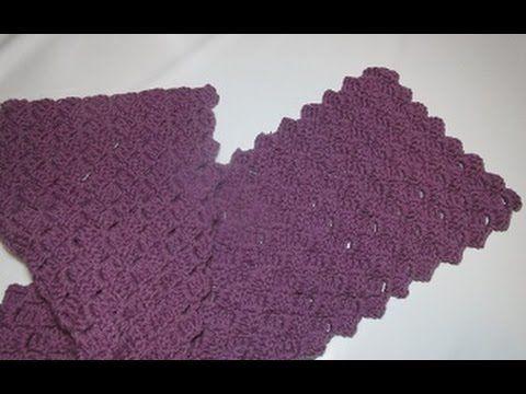uncinetto crochet sciarpa tutorial passo a passo schema - YouTube