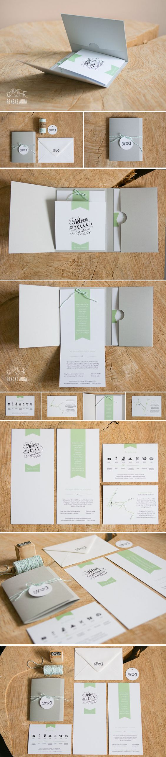 Zomers grijs met mintgroen: de trouwkaarten van Jelle & Heleen