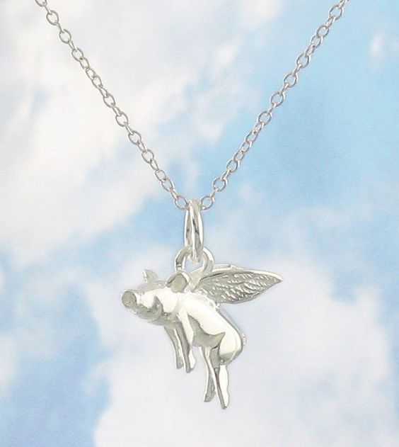 Flying Pig Necklace in Sterling Silver