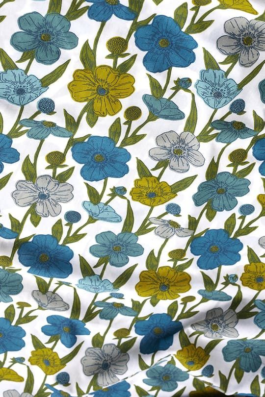 Half Metre Quilting Fabric ~ Long Live Vintage ~ Funky Flowers