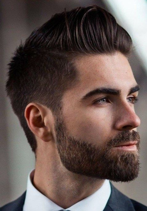 Modern Pompadour With Short Beard Beard Styles Short Beard Styles Hair And Beard Styles
