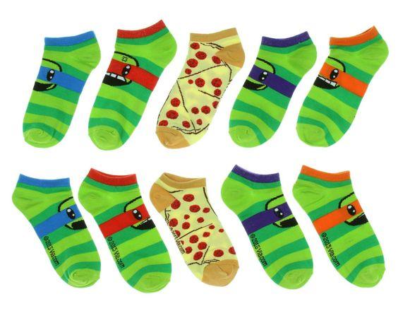 Teenage Mutant Ninja Turtles Stripes No-Show Socks 5 Pair