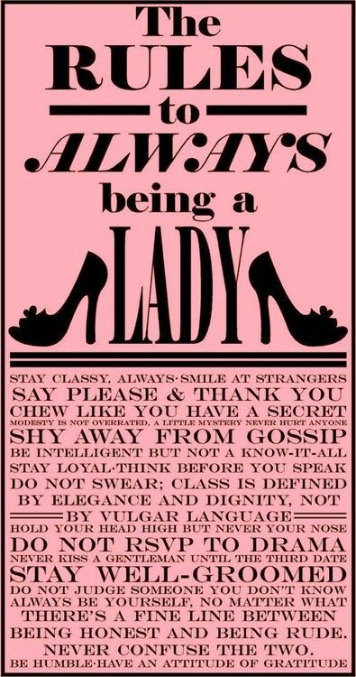 Rules for being a lady