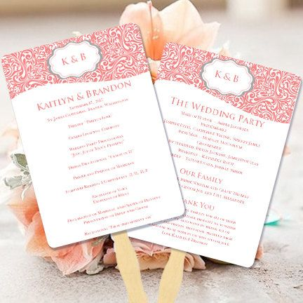 """Wedding Program Fan """"Makayla"""" Coral & Gray 