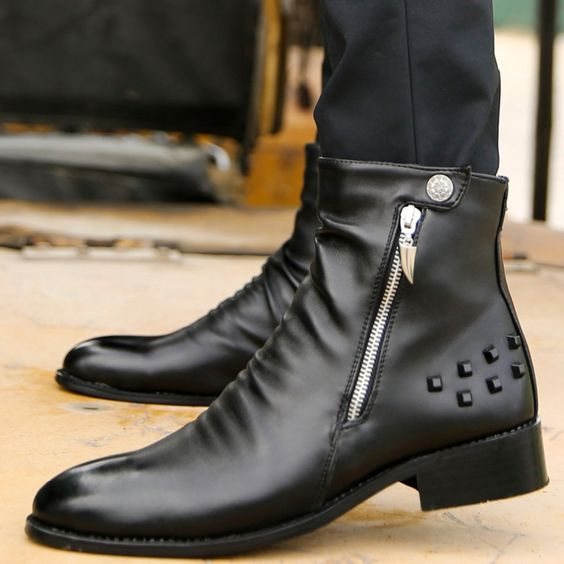 Cool Fashion Quality Pleated Leather Martin Ankle Boots Mens Punk Rock Shoes Rivet Studded With Zip Charm Button Open Trendy New