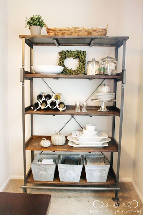 Industrial farmhouse bakers rack and industrial on pinterest for Dining room shelves