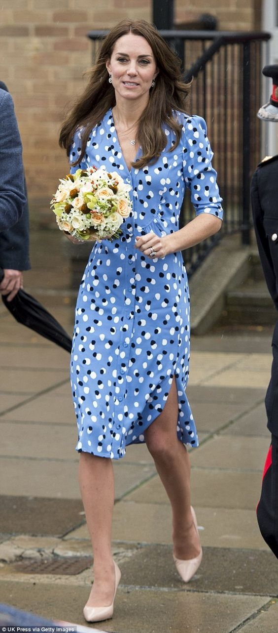 The Duchess of Cambridge today stepped out in New York-based designer Altuzarra for the first time, wearing a £1,700 polka dot dress to an engagement in Harlow, Essex