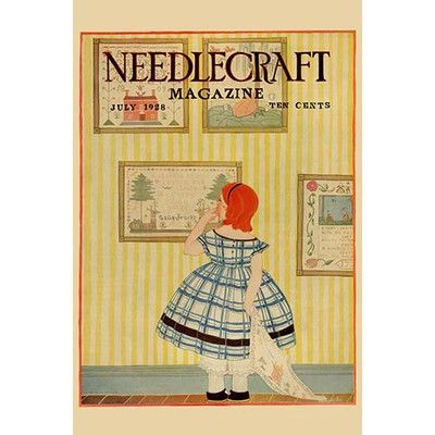 Buyenlarge 'Young Girls Looks at a Selection of Old Needlepoints on a Wall' by Needlecraft Magazine Wall Art