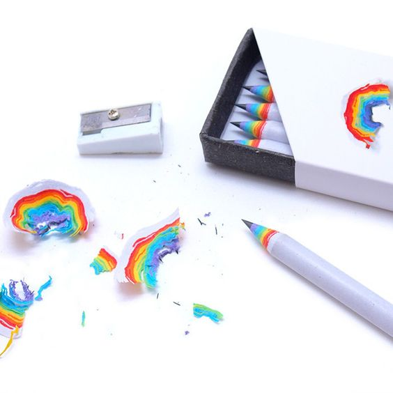 Rainbow Pencils from The Colossal Shop - everytime you sharpen your pencil, you make a little rainbow!: