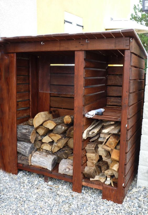 abris de jardin permettant le rangement du bois de chauffage ranger. Black Bedroom Furniture Sets. Home Design Ideas