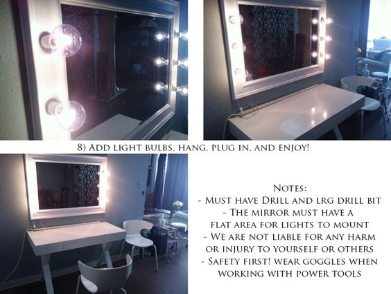 diy makeup mirror with lights makeup vidalondon. Black Bedroom Furniture Sets. Home Design Ideas