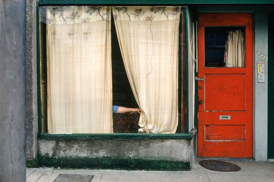 Fred Herzog, Curtains, 1972. From the amazing collection of Herzog's photographs at Online Browsing.