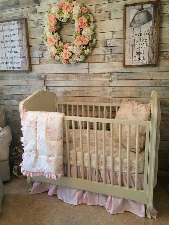 Rustic baby girl 39 s nursery nursery kids space and baby for Chic baby nursery ideas