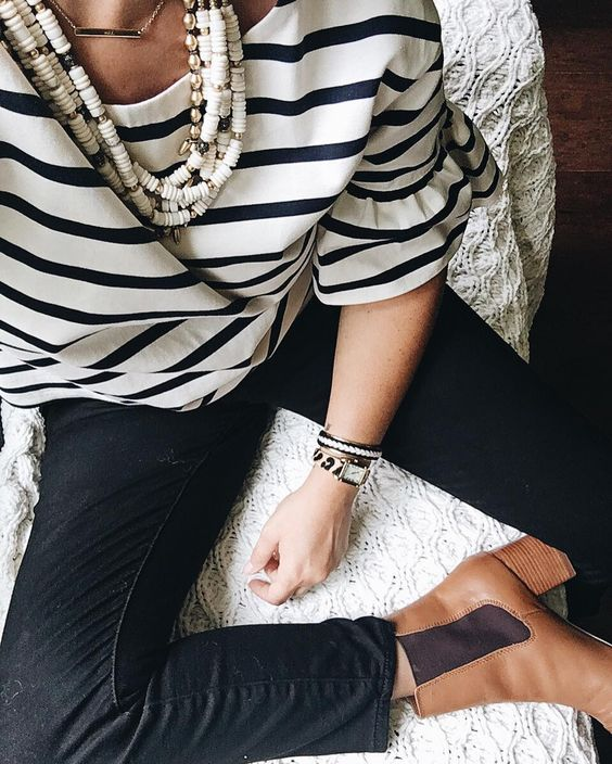 For a classic and timeless look, take a cue from @julesegli: You can never go wrong with black and white #stelladotstyle #ootd: