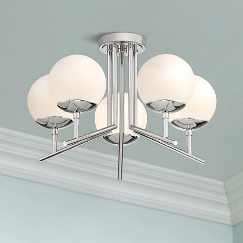 Catherine 20 1 2 Wide Polished Nickel 5 Light Ceiling Light 47r65 Lamps Plus Ceiling Lights Polished Nickel Light