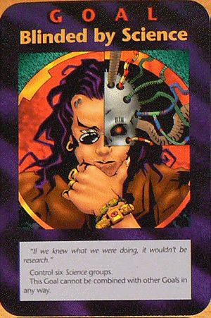 "Blinded by science illuminati card, like the song.  The card states ""If we knew what we were doing, it wouldn't be research."""