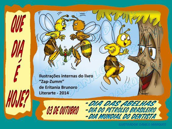 """SÉRIE """"QUE DIA É HOJE?"""" 02  03 de Outubro - Dia das Abelhas, Dia do Petróleo Brasileiro e Dia Mundial do Dentista. """"A união entre os seres e o amor à natureza faz com que a harmonia prevaleça. Para atender as necessidades de uns, precisamos saber se não estamos interferindo na vida de outros. O respeito à vida é fundamental."""" (Eritania Brunoro) #abelhas #quediaéhoje #datas #datascomemorativas"""