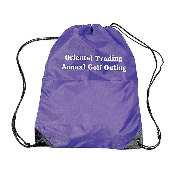 Purple Personalized Small Drawstring Backpacks - OrientalTrading.com