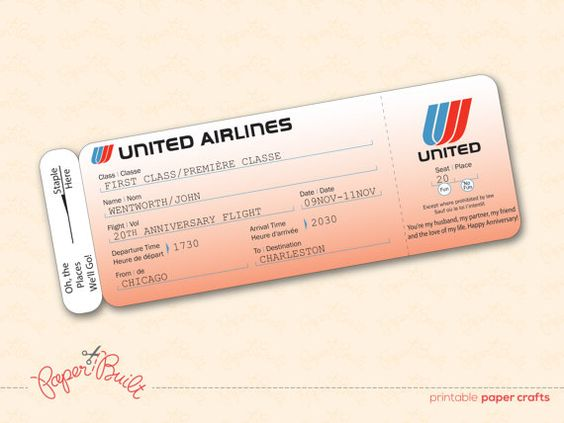 Printable United Airlines Style Airline Ticket/ Boarding Pass Gift ...