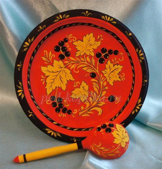 Хохломская роспись тарелки раскраска