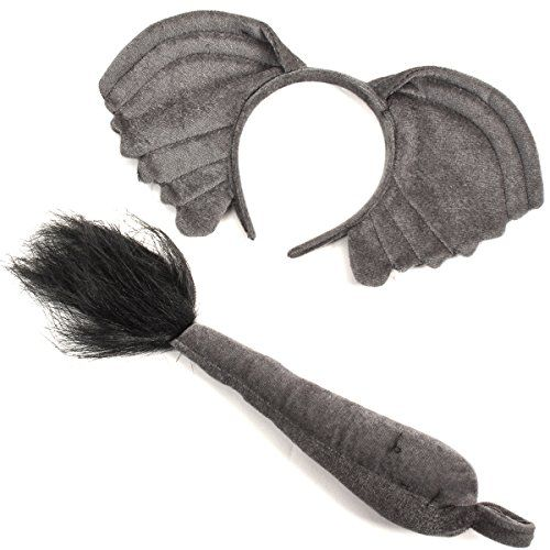 Elephant Ears and Tail Set Costume Fancy Dress Up World Book Day Zoo Kids Animal