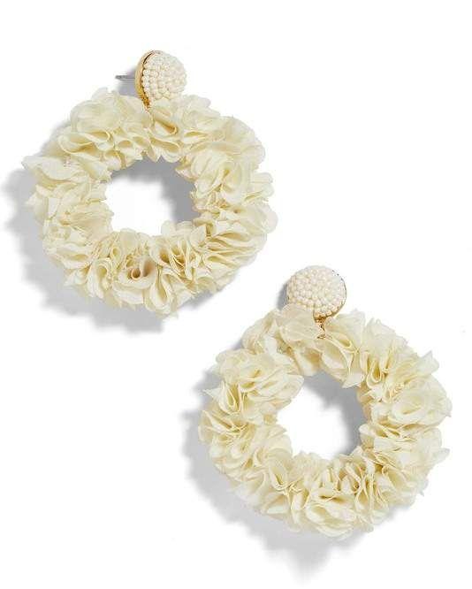 Baublebar Camellia Floral Hoop Drop Earrings In 2020 Stud Gift Floral Hoops Gold Bar Studs