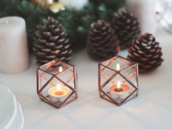 NEW! Glass Geometric Candle Holder / Christmas Lights / Holiday Candles / Glass Hurricane / Stained Glass Tealight Candle Holder Set of Two