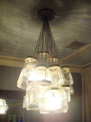 DIY mason jar chandelier- imagine with turquoise blue ball jars!